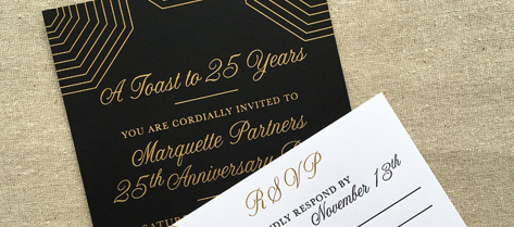 Marquette Partners Black and Gold Anniversary Party Invitation