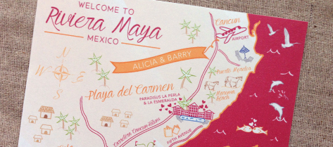 Illustrated Riviera Maya Map Save the Date
