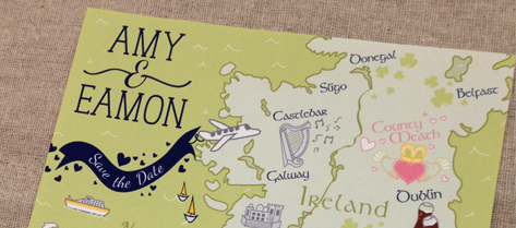 Illustrated Ireland Map Save the Date