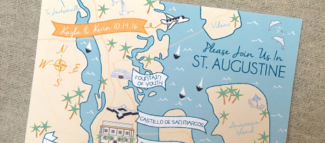 Illustrated St. Augustine Map Save the Date
