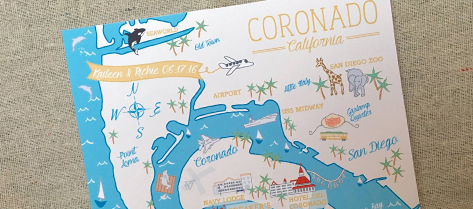 Illustrated Coronado Map Save the Date