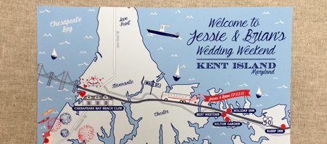 Illustrated Kent Island Map Save the Date