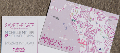 Illustrated Marco Island Map Save the Date