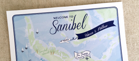 Illustrated Sanibel Map Welcome Bag