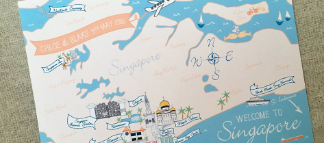 Illustrated Singapore Map Save the Date