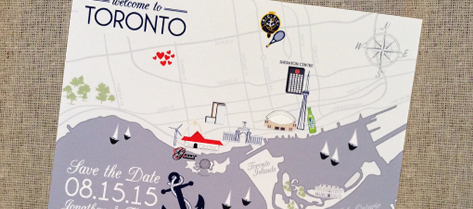 Illustrated Toronto Map Save the Date