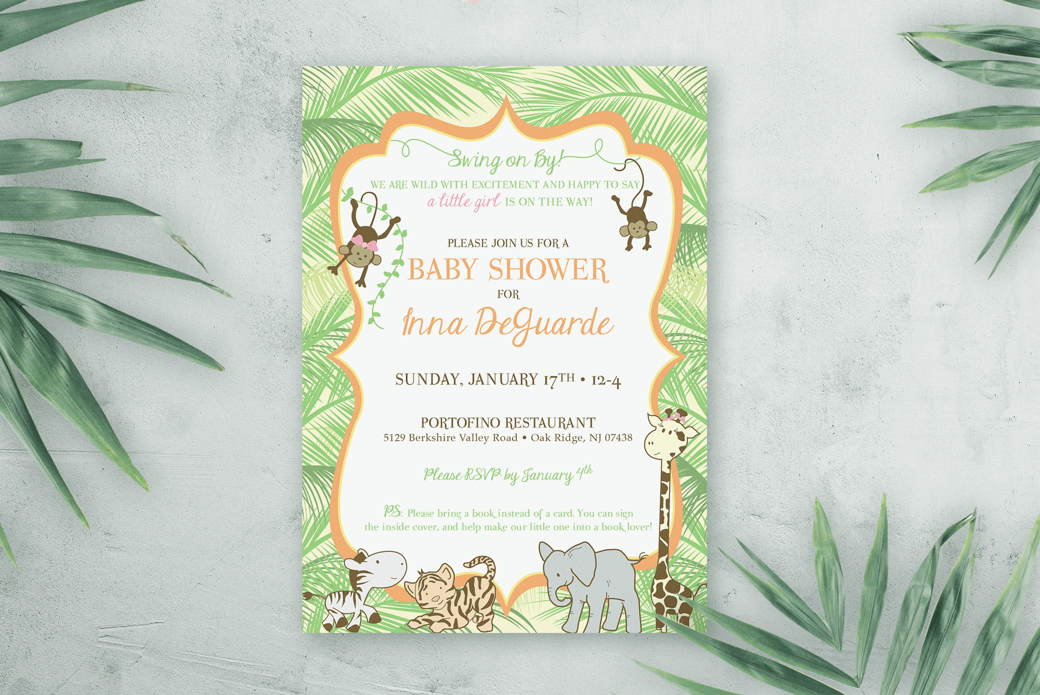 Palm Tree Jungle Baby Shower Invitation