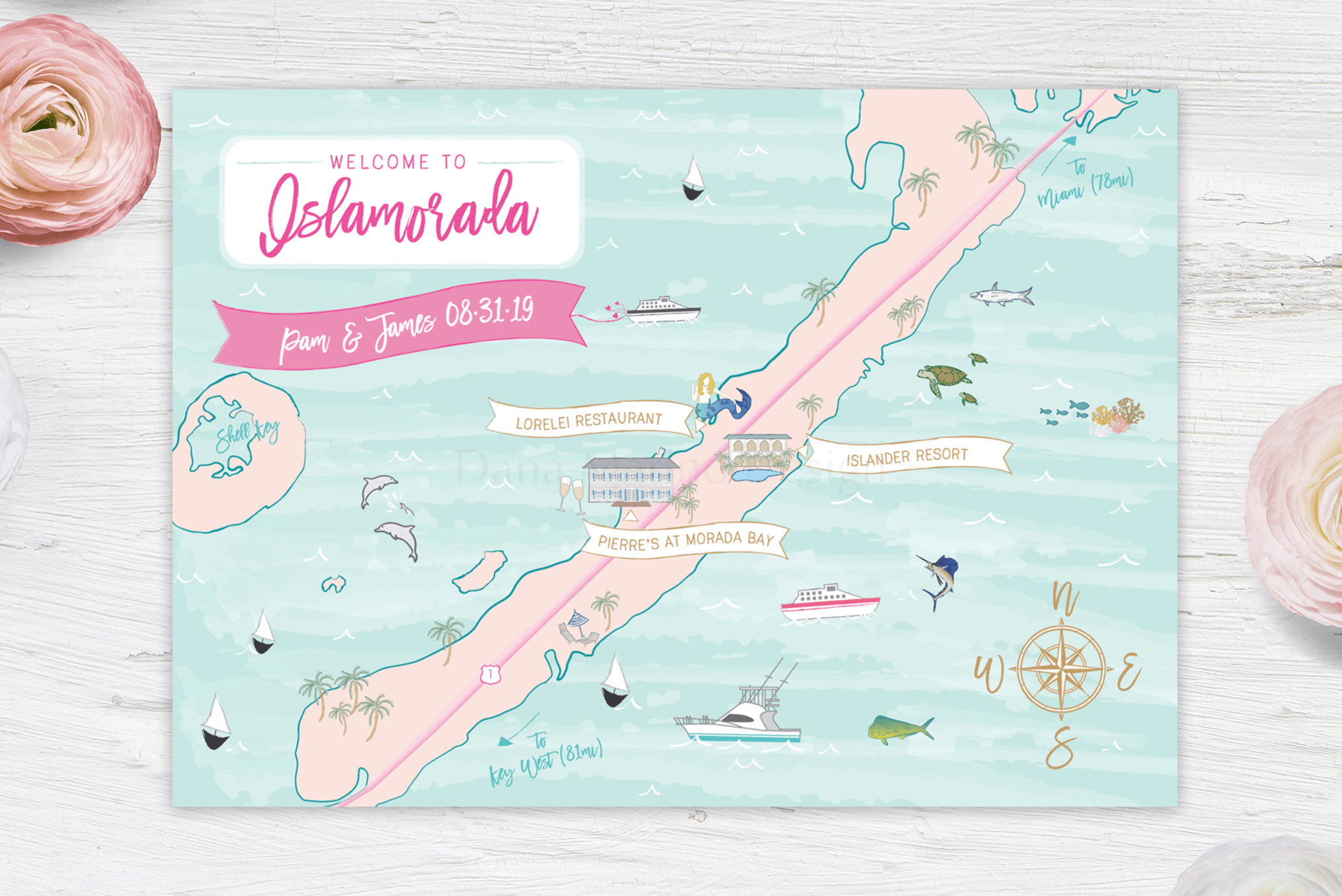 Islamorada, Florida Custom Wedding Map