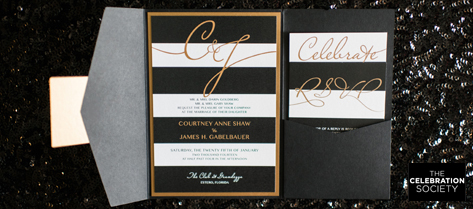 Courtney and Jim Black and Gold Invitation Suite