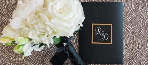 Rikki and David Black and Gold Invitation