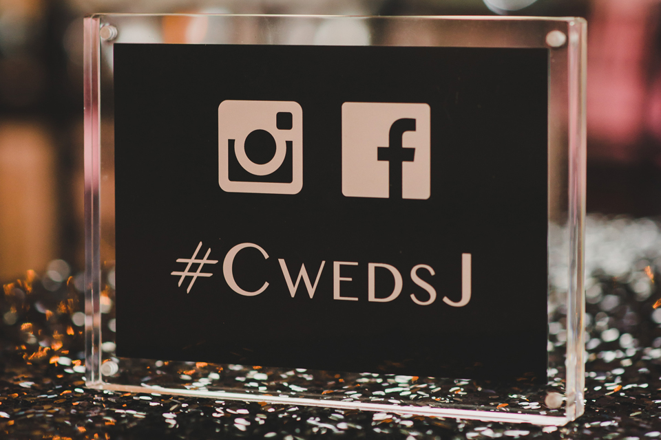 Black and White Wedding Social Media Hashtag Sign