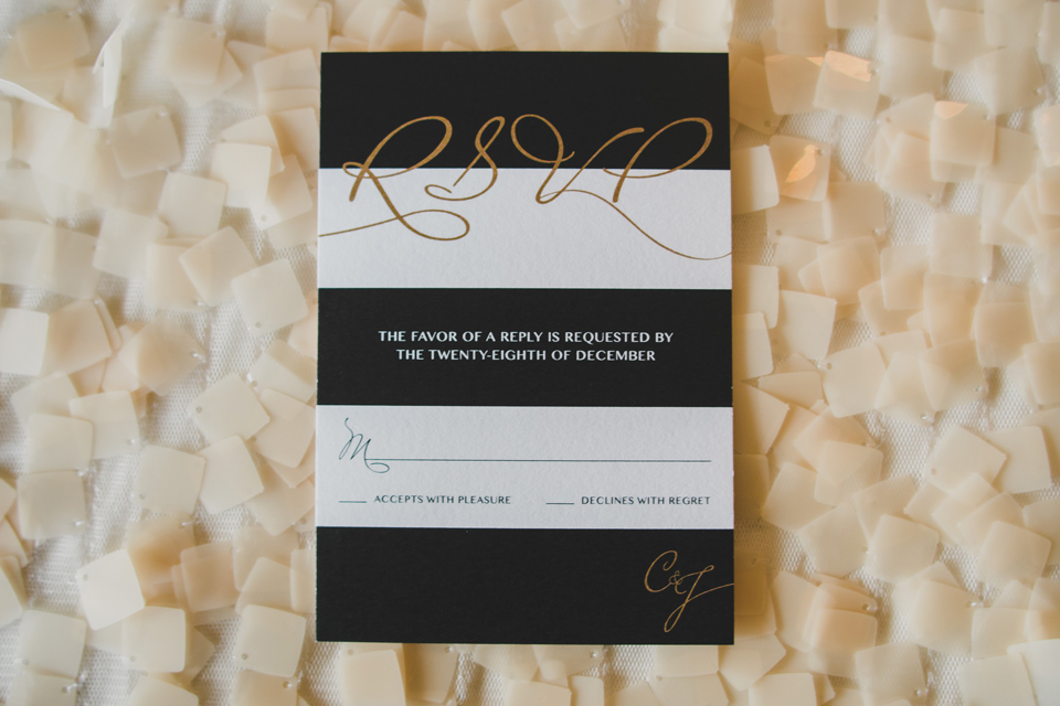 Black and White Wedding Invitation Suite RSVP Card