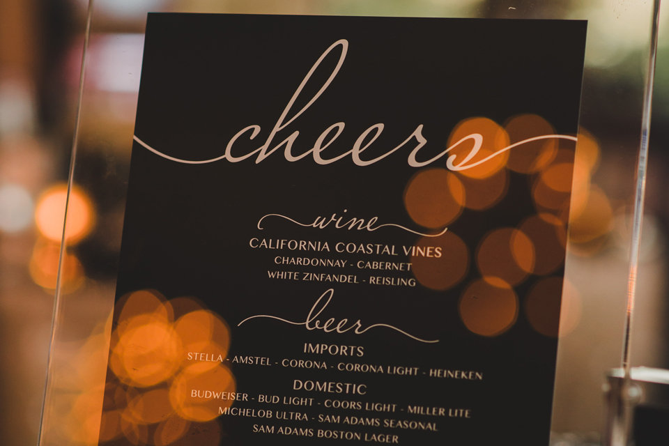 Black and White Wedding Bar Event Signs