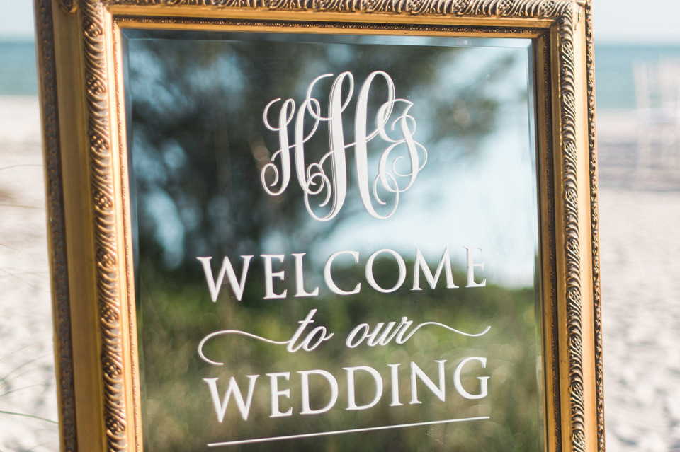 Heather and James Mirrored Wedding Welcome Sign
