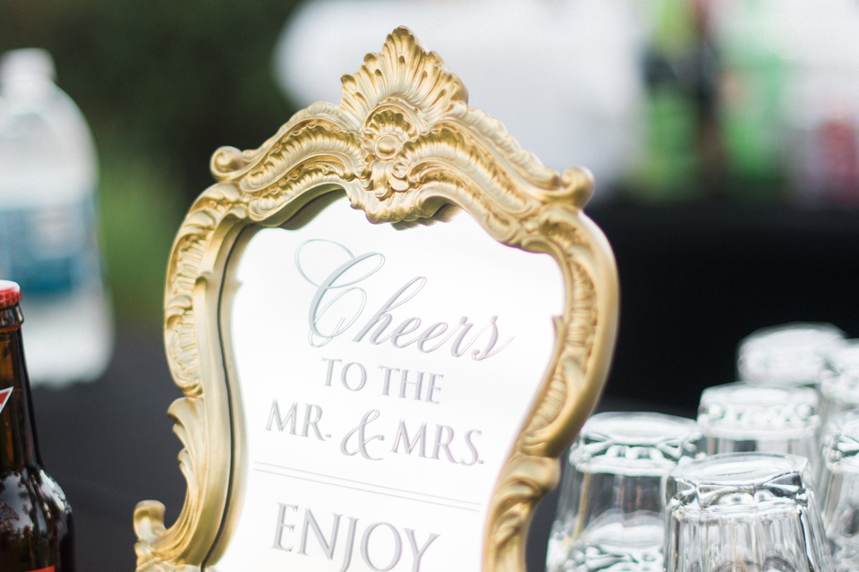 Heather and James Mirrored Wedding Bar Sign