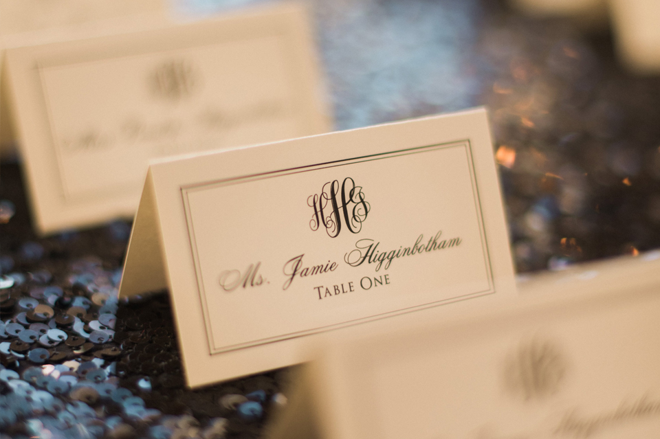 Heather and James Monogram Escort Cards