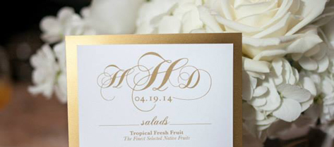 Haley and Don Gold Monogrammed Wedding Menu