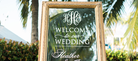 Heather and James Mirror Welcome Sign