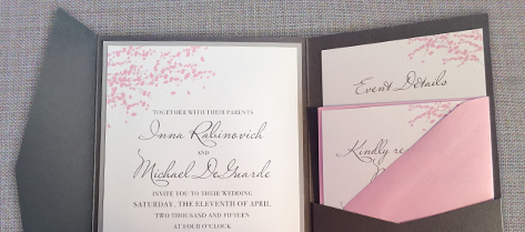 Inna and Michael Cherry Blossom Invitation Suite