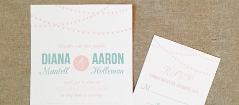 Diana and Aaron Mint Green String Light Invitation