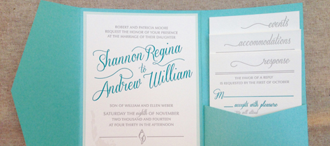 Shannon and Andrew Beach Pocket Invitation Suite