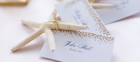 Rebecca and Matthew Starfish Escort Cards